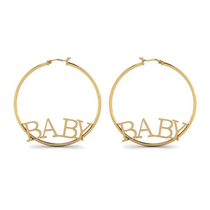 14K Yellow Gold Engraved  Earring