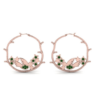 Emerald Branch Bird Hoop Earring