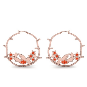 Orange Topaz Branch Design Earring