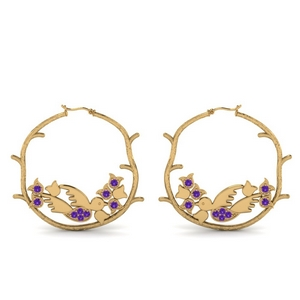 Hoop Purple Topaz Earring