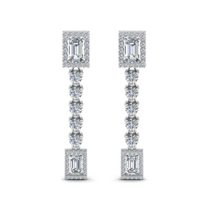 Square Diamond Halo Drop Earring
