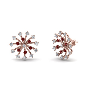 Floating Stud Ruby Earring