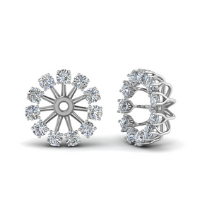 Floral Diamond Earring Jackets For Studs