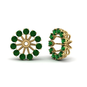 Emerald Ear Jacket Studs