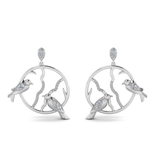 Diamond Stud Bird Drop Earring