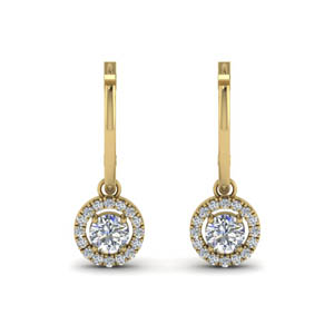 hoop drop diamond halo earring in FDEAR8973ANGLE1 NL YG