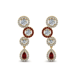 Halo Teardrop Ruby Earring 1.60 Ctw.