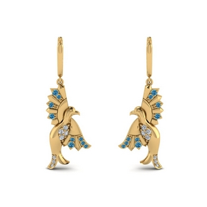 Blue Topaz Bird Drop Earring
