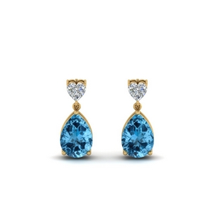 Heart Stud Topaz Drop Earring