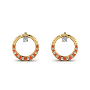Orange Topaz Circle Stud Earring