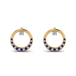 Sapphire Circle Stud Earring