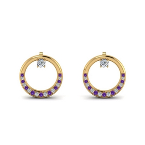 Circle Stud Earring With Purple Topaz
