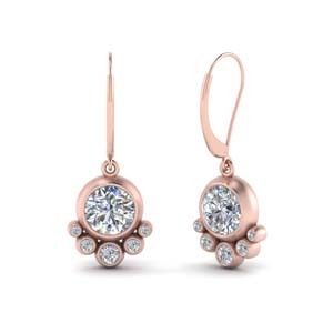 Bezel Rose Gold Dangle Earring