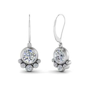White Gold Bezel Dangle Earring