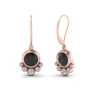 Black Diamond Bezel Set Earring