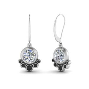 Bezel Black Diamond Earring