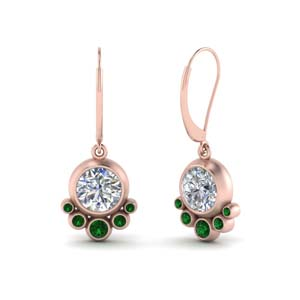 Bezel Emerald Dangle Earring