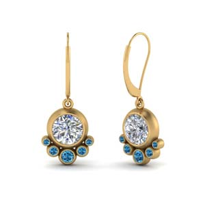Gold Topaz Bezel Set Earring