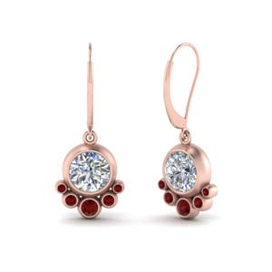Ruby Bezel Dangle Earring