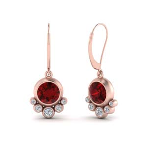 Ruby Bezel Drop Leverback Earring