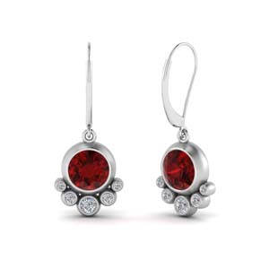 Bezel Leverback Ruby Earring