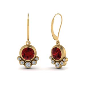 Bezel Drop Leverback Ruby Earring
