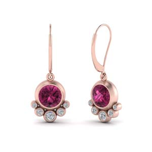 Pink Sapphire Leverback Earring
