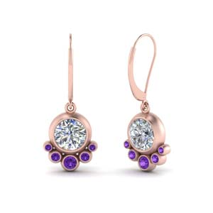 Bezel Diamond Dangle Earring