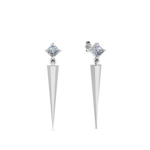Princess Cut Dagger Earrings