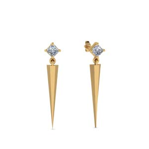Princess Cut Dagger Earring Gold