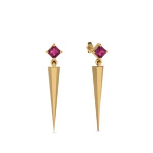 Drop Style Pink Sapphire Earrings