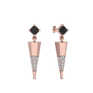 Black Diamond Dagger Earrings