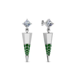 Emerald Princess Diamond Earring