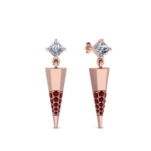 Princess Cut Dagger Earring
