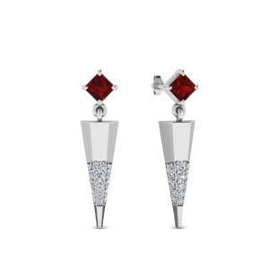 Ruby Pave Diamond Earrings