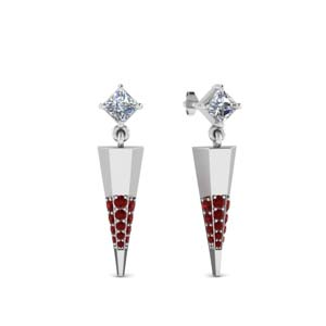 Platinum Ruby Dagger Earring