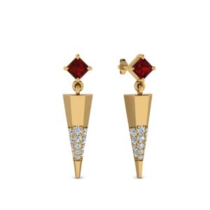 Mini Ruby Dagger Earring