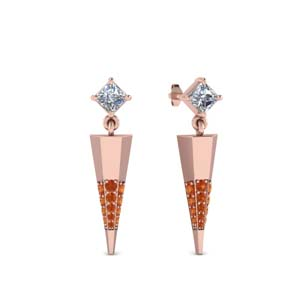 Small Orange Sapphire Stud Drop Earring