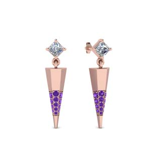 Mini Purple Topaz Dagger Earrings