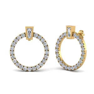 Circle Stud Earring With Baguette