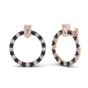 Black Diamond Baguette Earring