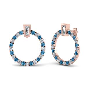 Circle Stud Earring With Topaz