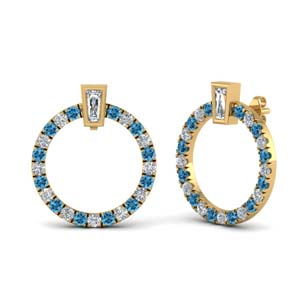 Open Circle Earring With Topaz