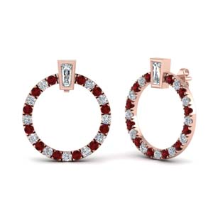 Ruby Circle Stud Earring