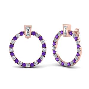 Circle Purple Topaz Stud Earring