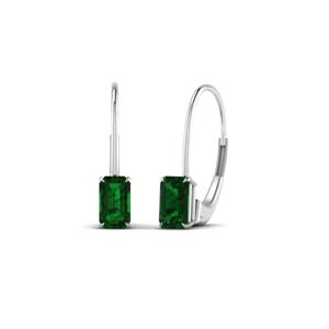 Emerald Leverback Stud Earring For Her
