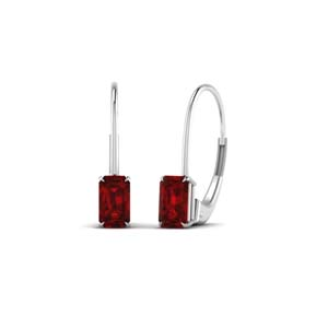 Leverback Ruby Stud Earring