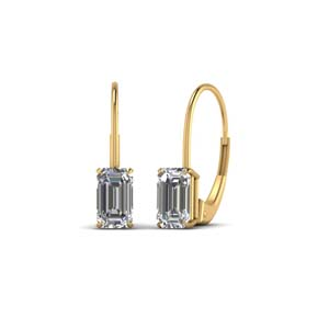 Emerald Cut Leverback Stud Earring