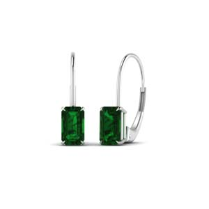 1 Ct. Emerald Leverback Stud Earring
