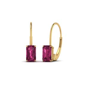 Yellow Gold Pink Sapphire Earring